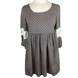 Umgee Boho Swing Dress 3/4 Sleeve Empire Waist M